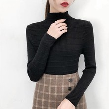 Slim Knit Pullover Half High Neck Womens Sweater Female Long Sleeve Jumper Tops cable knit half zip pullover sweater