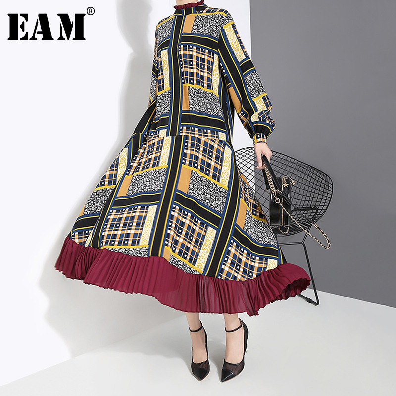 [EAM] Women Pattern Print Pleated Hit Color Dress New Stand Neck Long Sleeve Loose Fit Fashion Tide Spring Autumn 2020 1A884