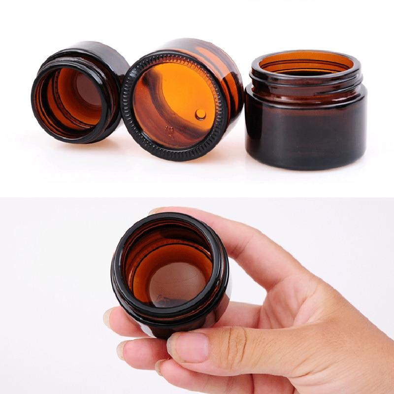 Image 5 - 20 шт 5 г 50 г янтарные стеклянные банки контейнеры косметический крем лосьон порошок КОРИЧНЕВЫЕ БУТЫЛКИ горшки для макияжа дорожные чехлы с черными крышкамиМногоразовые бутылки   -