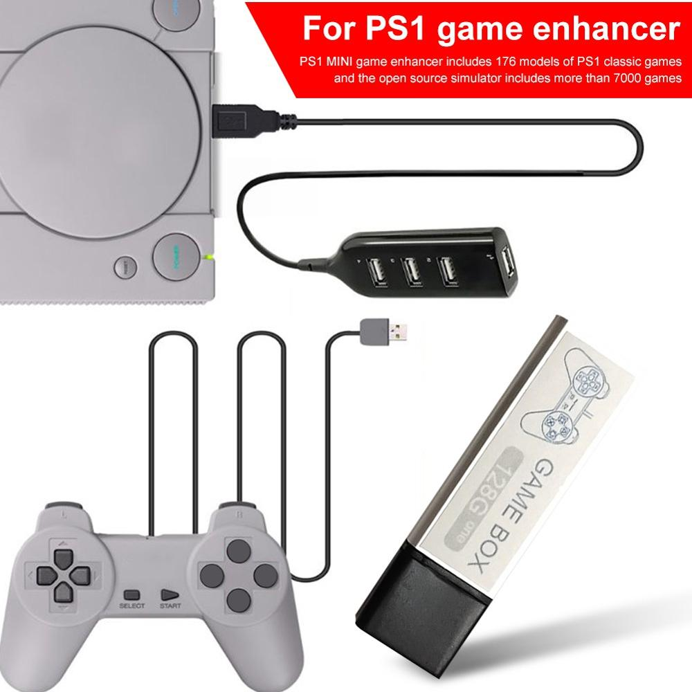 Game Enhancer Plug Built-in 7000 Games Open Source Simulator Expansion Pack 4-port Hub Stick For Playstation For PS1 Mini