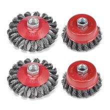 4pcs Rotary Twisted Knoop Platte Cup Staaldraad Wiel Borstel Voor Haakse Slijper Roest Verf Verwijderen Stalen Borstel