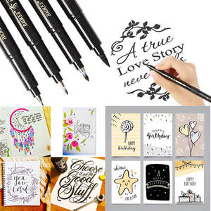 4 Sizes Ink Calligraphy Pen Hand Lettering Pens Brush Markers Drawing Art Marker