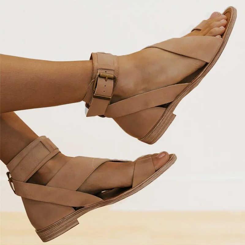 Sandali delle donne In Morbida Pelle di Estate Scarpe Donna Cinturino Alla Caviglia Sandali Piatti Gladiatore Sandali Delle Donne di Vibrazione di Estate di Cadute di Casual Chaussure Femme