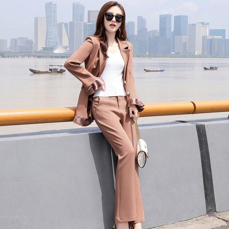 Women Suit Set Autumn New Fashion Professional Suit Simple Temperament Commute Lace Suit Trousers Women Pant Suits Formal