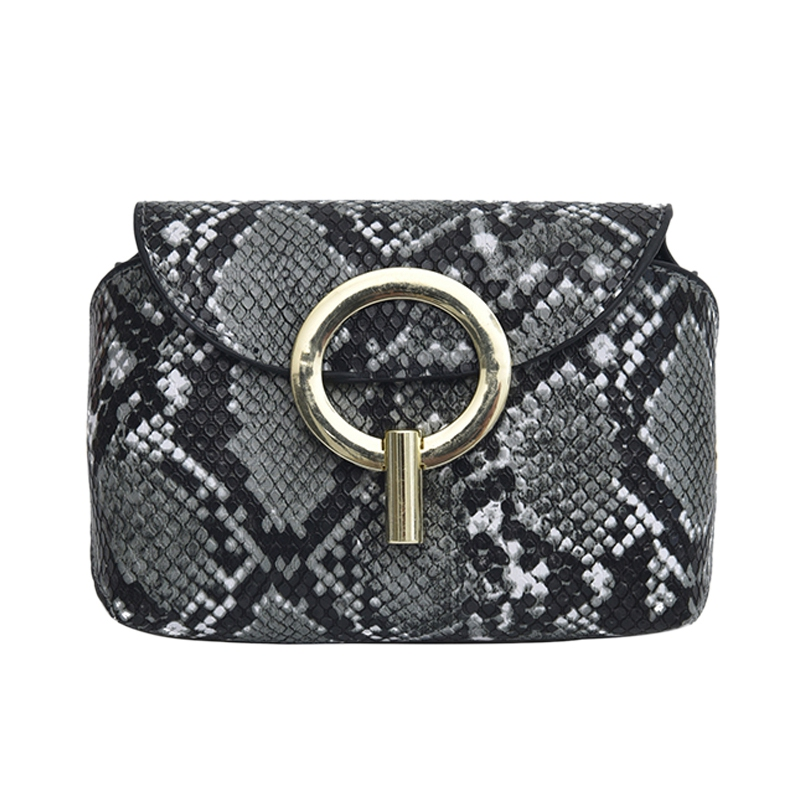 Fashion Snake Pattern Leather Belt Bags Phone Pouch Women Pu Leather Waist Bags Gray