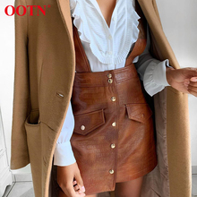 Ootnブラウンpuレザーミニスカートの女性ハイウエストaラインスカートショートレディースファッションエプロンスカート女性のカジュアルシューズシングルブレスト
