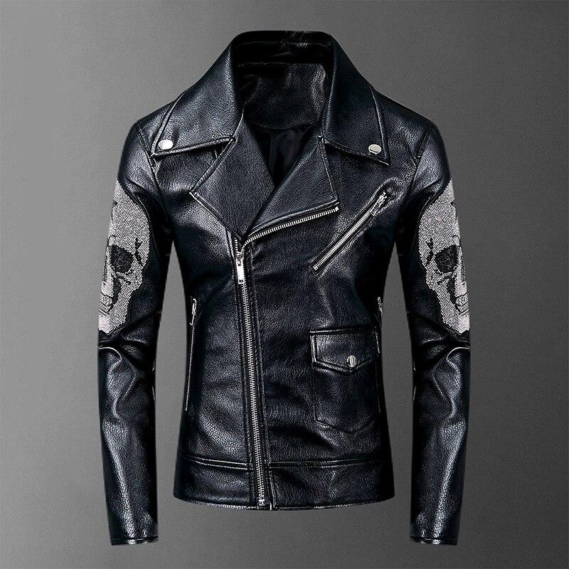 2019 черепа Бриллианты мужские куртки и пальто уличная тонкая куртка из искусственной кожи мужские куртки