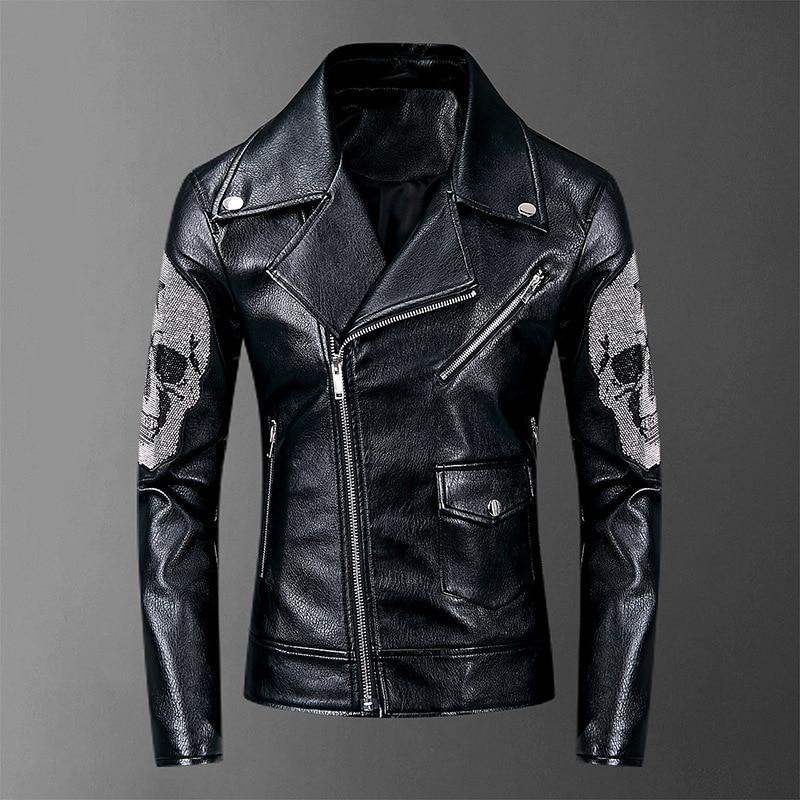 2019 Skulls Diamonds Mens Jackets And Coats High Street Style Turn-down Neck Streetwear Slim PU Jacket Men Casacas Para Hombre