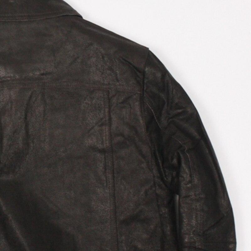 Relaja la capa de cuero del cerdo de los hombres cortocircuitos de la moda del cuero del abrigo 2020 nuevo abrigo de la cremallera de los hombres - 4