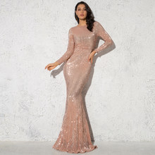 2019 Elegant O Hals Sparkle Sequin Maxi Jurk Floor Lengte Stretchy Bodycon Party Dress Gold Emerald Bordeaux Zwart(China)
