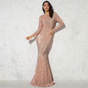 Elegant O Neck Long Sleeve Sequin Maxi Dress Floor Length Stretchy Bodycon Party Dress Gold Green Burgundy Black