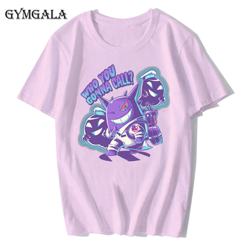 100% cotton anime cartoon Geng ghost printed men's T-shirt summer cotton short-sleeved T-shirt fashion tops tee men's clothing f - XQ-122pink, Asian size XL