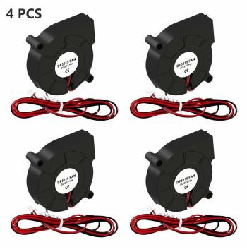 4PCS Cooling Fan 5015 DC 12V/24V Brushless Blower 50mm x 50mm x 15mm Cooling Fan 2 Pin Terminal For 3D Printer Hotend Extruder фото