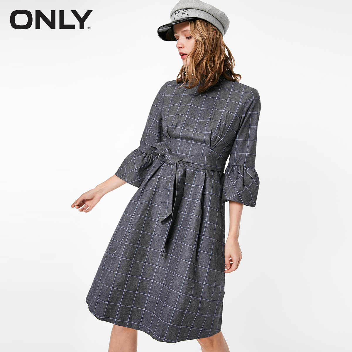 ONLY Autumn Checked Flared Sleeves Waist Belt Dress  | 118407510