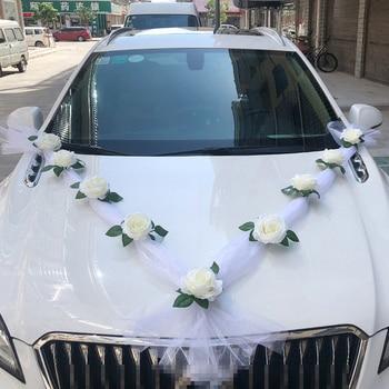White Rose Artificial Flower for Wedding Car Decoration Bridal Car Decorations + Door Handle Ribbons Silk Flower