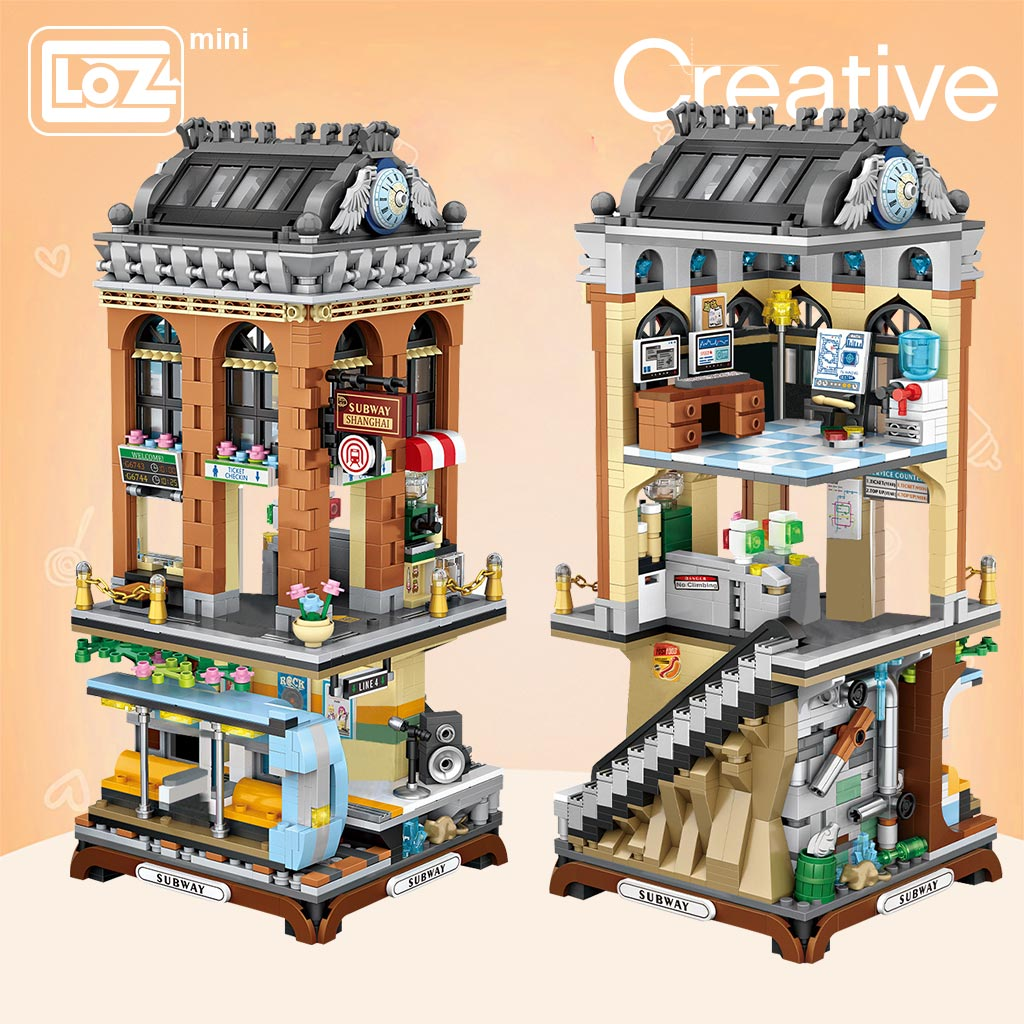 LOZ Mini Block Mini Straße Stadt U-bahn Station Europäischen stil gebäude Transport plattform Modell DIY Montage Spielzeug