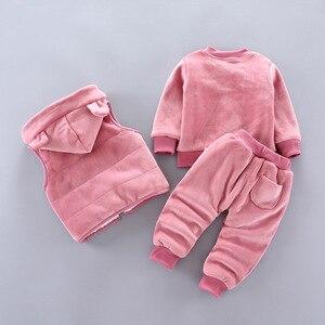 Image 3 - Ensemble de vêtements dhiver en polaire pour bébés, garçons et filles, tenue dours de dessin animé, Costume chaud pour enfants, 2020