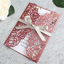 Rose laser cut invitations leaf lace burgundy wedding card paper 50pcs