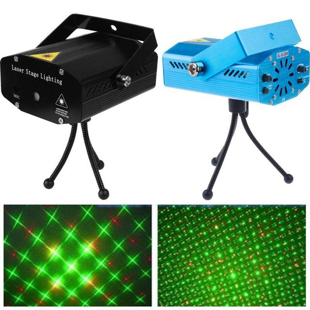 LED Laser Projector Lazer Disco Light Dj Voice activated Xmas Party Club Stage Lighting Effect Lamp home Decorations AC110V 220V
