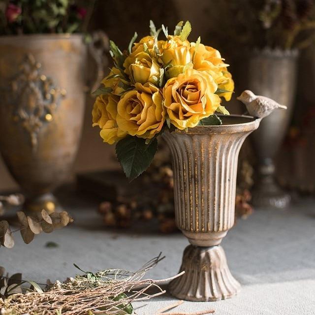 Vintage Old Wrought Iron Vase Flower Home Furnishing Golden Silver European Flower Pot  Goblet Classical Floral Decoration 2