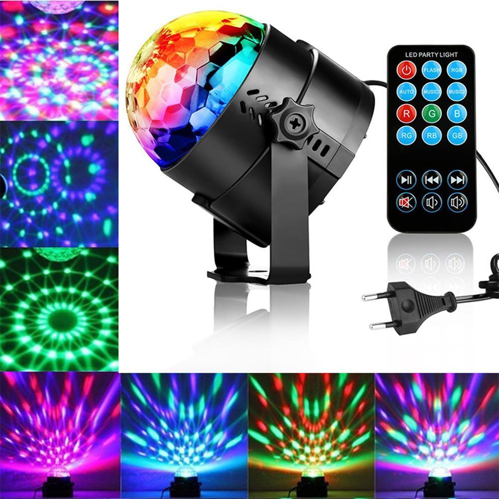 Светодиодный светильник для дискотеки с дистанционным управлением, магический шар, стробоскопический светильник, звуковая