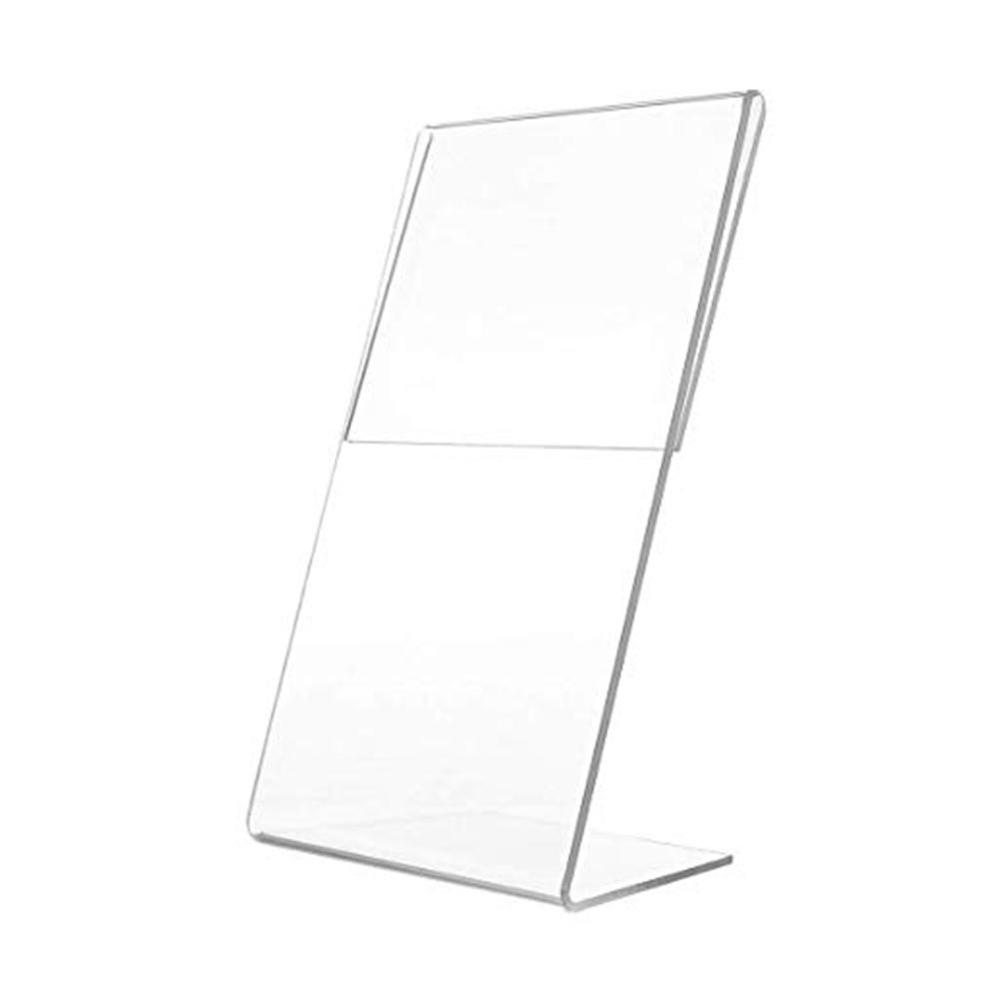 1pcs Acrylic 1.5mm Vertical Clear L Shape Plastic Table Sign Price Tag Label Display Rack Paper Promotion Card Holders Stands