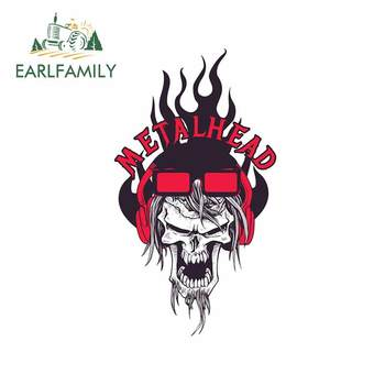 EARLFAMILY 13cm x 8.6cm For Metalhead Skull Car Styling Sticker Fine Decal Car Accessories Vinyl Material Motorcycle Car Styling image