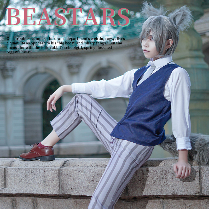 Anime Beastars Legosi Cosplay Costume Adluts Men Uniform Cool Suit Grey Wolf Costume Outfit