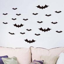 36 pçs halloween 3d diy pvc bat adesivo de parede decoração para casa preto morcego decorações do dia das bruxas para casa quarto banheiro adesivos muraux