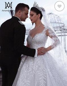 Image 4 - Роскошное Свадебное платье Дубая с кружевной аппликацией и длинным рукавом