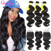 Brazilian Body Wave With Closure QueenLike Hair Products Remy Hair Weft Weaving 3 4 Bundles Human Hair Bundles With Closure