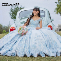 Charming Blue Quinceanera Dresses 2020 Ball Gown Prom DressO Neck Illusion Flower Beading Sweet 15 16 Pageant Vestidos De 15