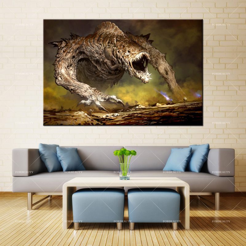 Forbeauty Canvas Painting Wall Art video_games_monsters_fantasy_MMORPG_Guild_Wars Spray Printing Waterproof Ink Home Decor image