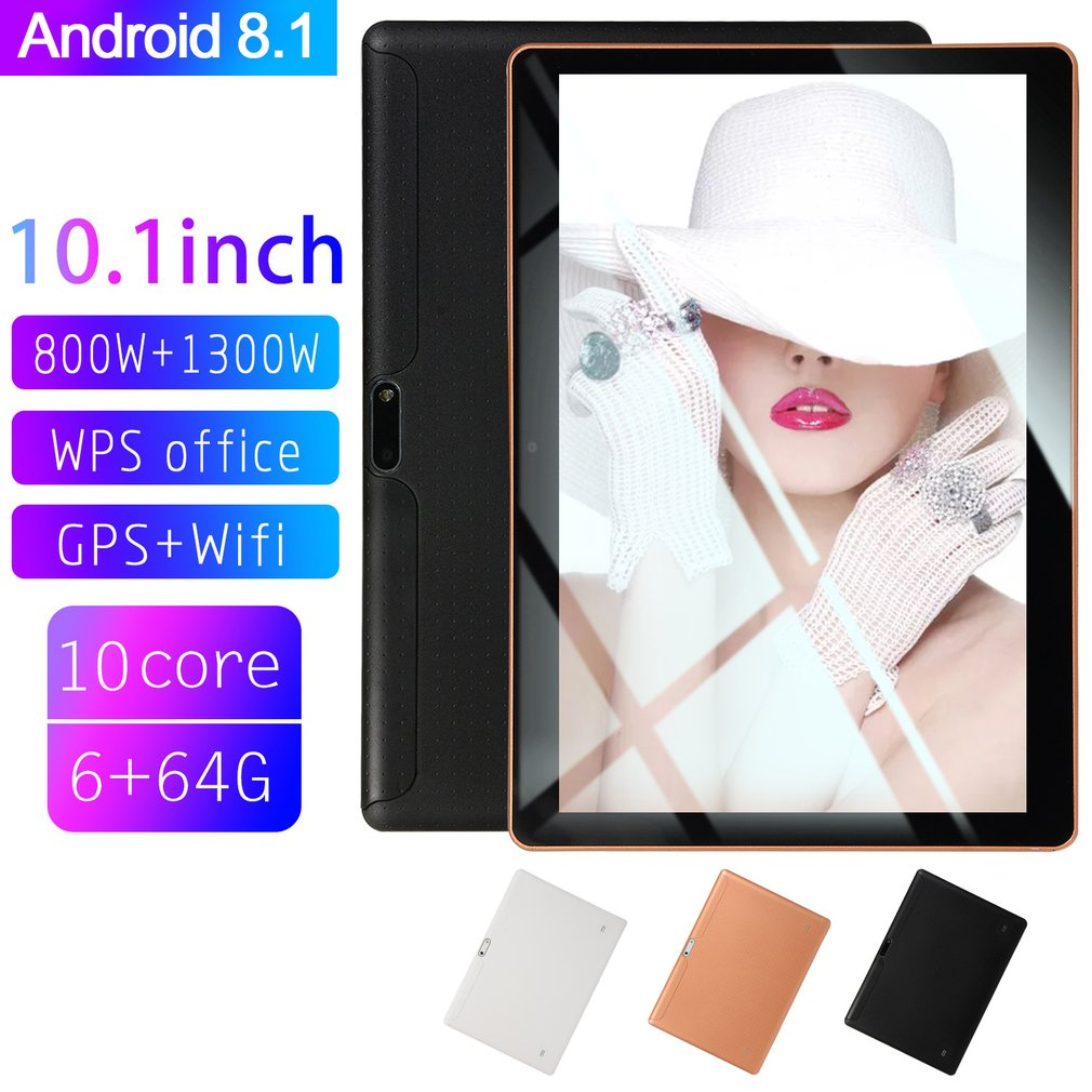 10.1 Inch For Android 8.1 Plastic Tablet PC 6GB+64GB Ten-Core WIFI Tablet 16.0MP Camera Dual SIM Camera Wifi Phone Phablet