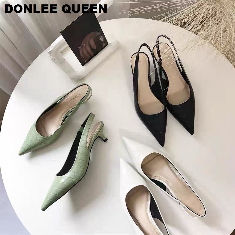 Women Leather Pointed Toe Pumps Party Court Shoes Slingback Sandals Mid Heel