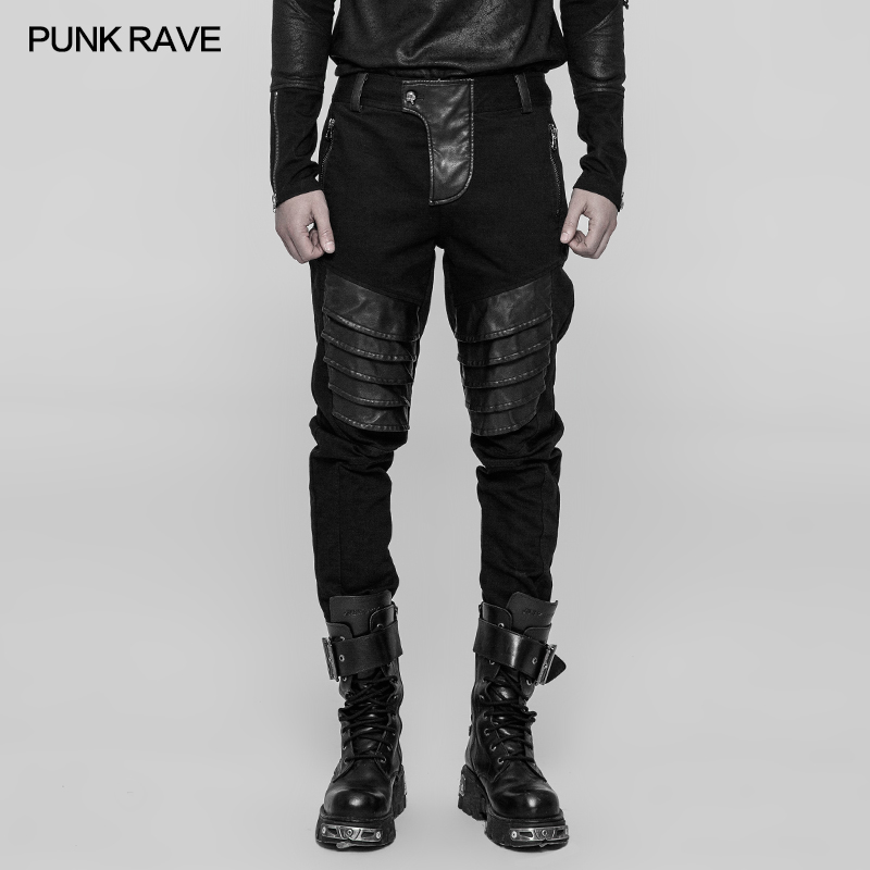 Fashion Punk Rock Mens Black Zip Gothic Hip-hop Denim DJ pencil Pants Trousers