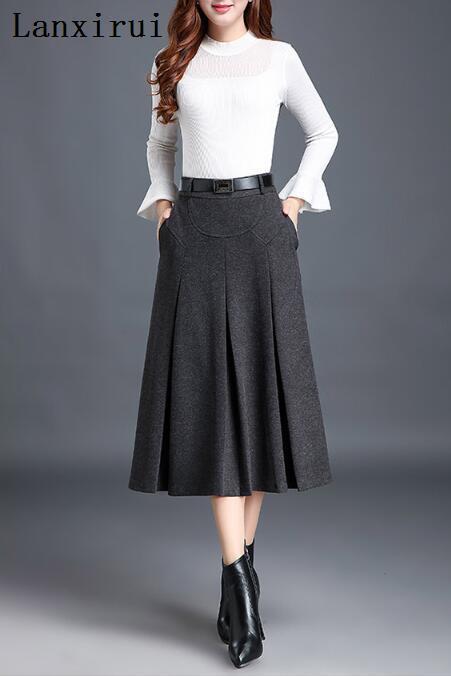 New Fashion OL Autumn Winter Women Wool Skirts Plus Size High Waist Casual Midi Pleated A-Line Skirt Female