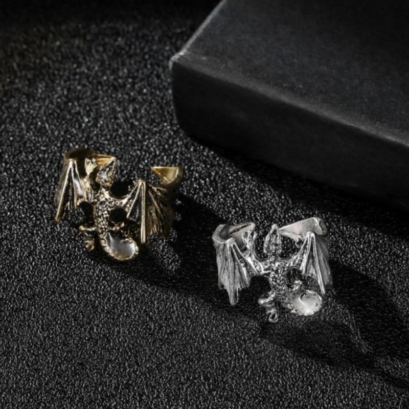 Luminous Dragon Ring Game of Thrones Vintage Retro Antique Silver Size 8