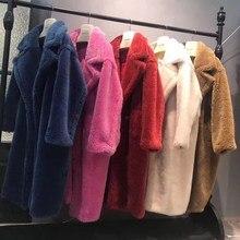 Kobiety zimowe płaszcze prawdziwe futro kożuch mieszanka wełny kurtka damska luźne duże plus rozmiar ciepłe grube naturalne futro jagnięce płaszcz luksusowa tkanina