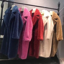 Mulheres casacos de inverno real pele de carneiro lã mistura jaqueta feminina solta grande plus size quente grosso natural cordeiro casaco de pele de luxo pano