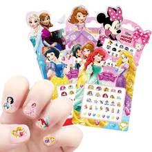 Disney congelado elsa e anna maquiagem brinquedos adesivos de unhas disney neve branca princesa sophia mickey minnie crianças brincos adesivo brinquedos