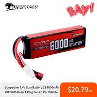 Sunpadow-batería Lipo 2S de 7,4 V, 6000mAh, 70C, paquete suave con decanos, enchufe T para coche, barco, avión, camión, tanque, vehículo, Buggy
