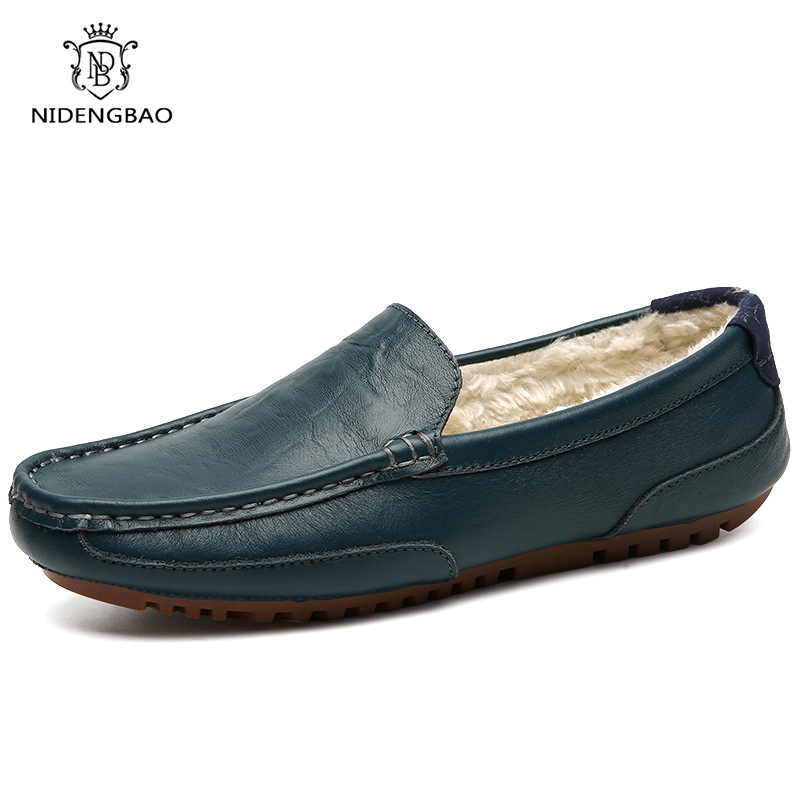 Big Size 45 46 Cow Leather Loafers Shoes Men With Fur Slip-on Casual Shoes Male Plus Velvet Warm Peas Lazy Male Driving Shoes