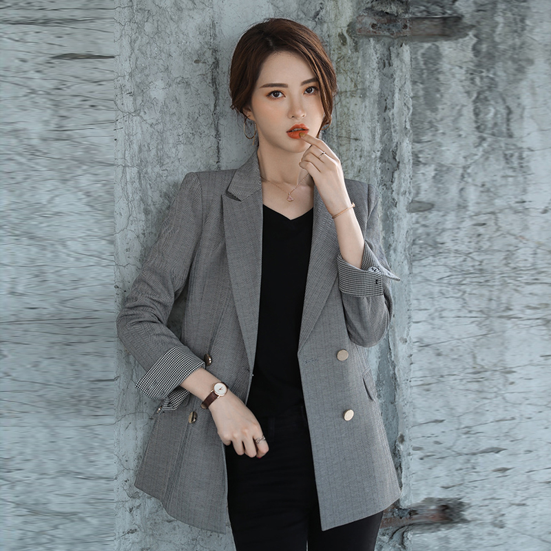 Autumn And Winter New Ladies Jacket High Quality Casual Temperament Double-breasted Striped Blazer Female Office Women's Suit