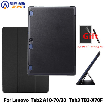 Cover case for Lenovo Tab 2 A10-70F A10-70L A10-30 X30F 10.1 & TAB 3 10 business(TB3-X70F) PU leather case+film+stylus pen tempered glass screen protector pu leather stand cover case for lenovo tab2 tab 2 a10 70 a10 70 a10 70f a10 70lc 10 1 tablet