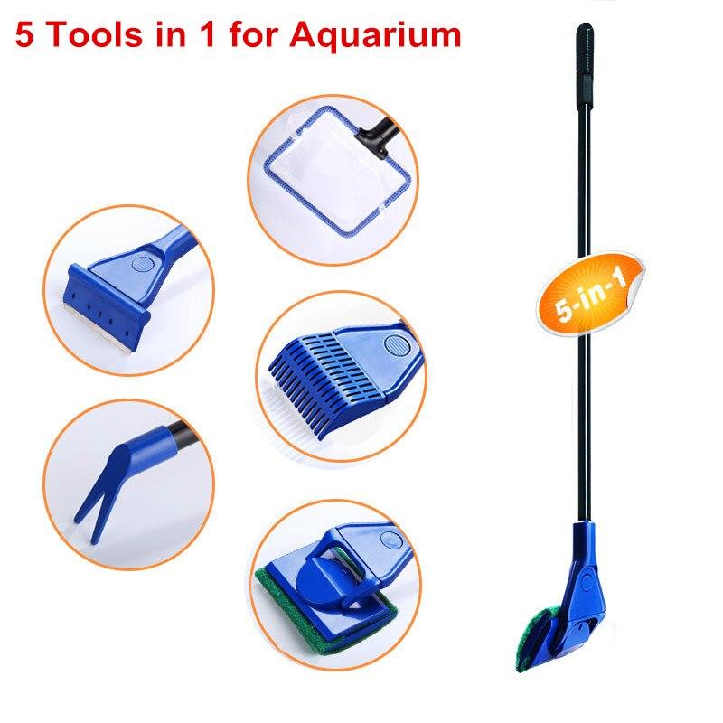 5 In 1 Aquarium Cleaning Tools Aquarium Tank Clean Set Fish Net Gravel Rake Algae Scraper Fork Sponge Brush Glass Cleaner