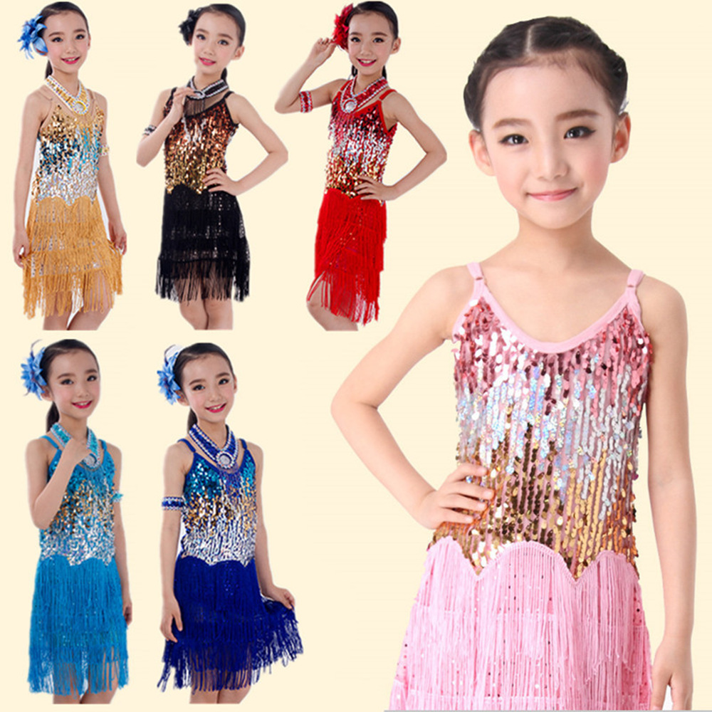 Latinski ples Otroci, Otroci, Otroci, Sequin Fringe Stage Performance Tekmovanje Ballroom Dance Costume Latin Dance Obleka za dekleta