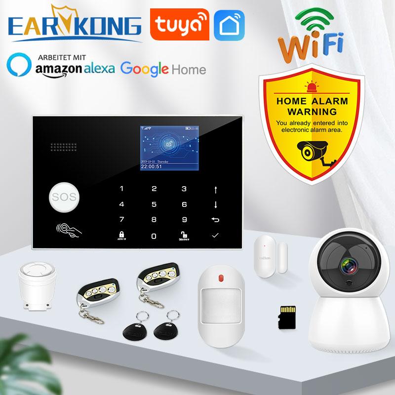 Wifi gsm sistema de alarme 433mhz casa alarme do assaltante sem fio & detector com fio rfid tft toque teclado 11 idiomas compatível alexa