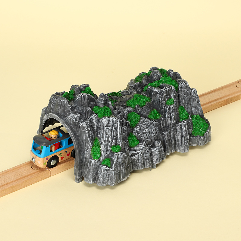 Wooden Train Building Block Rail Accessories Simulated Tunnel Cave Kids Toys Compatible With Wooden Tracks Toys For Children