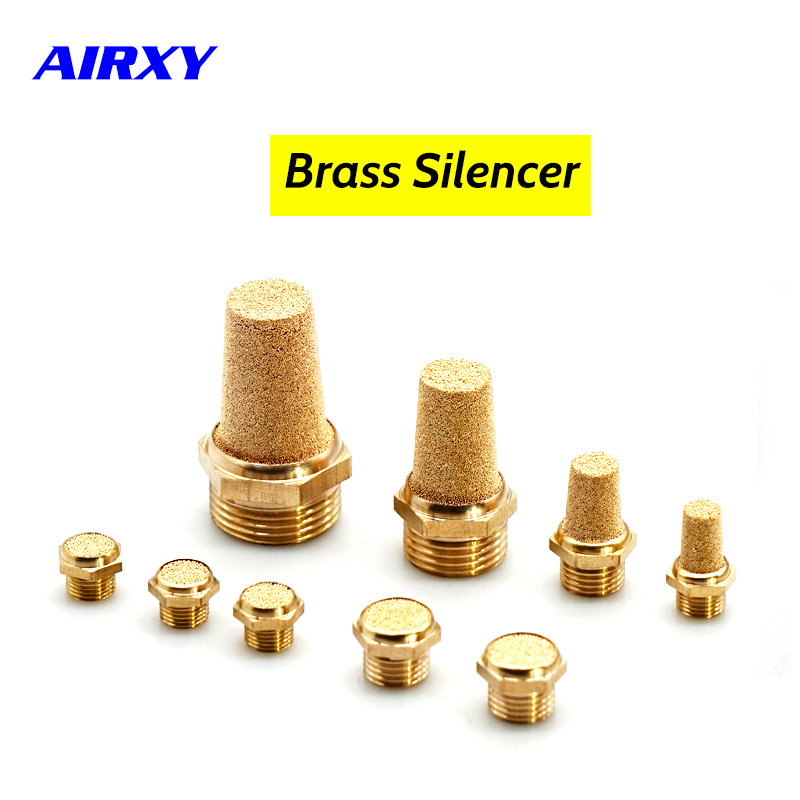 10pcs Brass Pneumatic Muffler Silencer Filter 1/8 1/4 <font><b>3/8</b></font> <font><b>1/2</b></font> BSP <font><b>Male</b></font> Thread For Air Noise Brass Adjustable Long Short BSL M5 image
